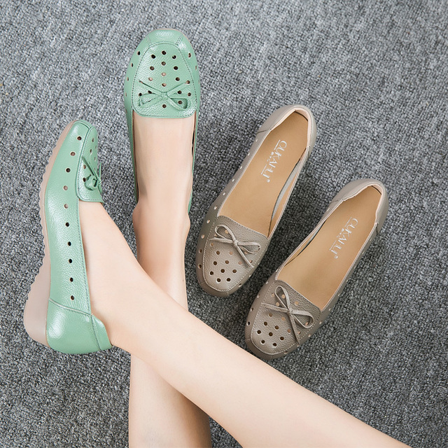2020 Genuine Leather Shoes, Woman Spring , Ladies Shoes