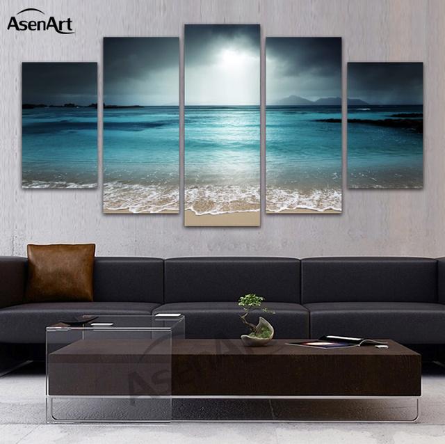5 panel canvas art seascape beach canvas prints sky grey landscape