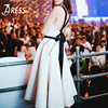 INDRESSME Sexy Spaghetti Strap O Neck Lace Up Backless Women Dress Casual A Line Knee Length