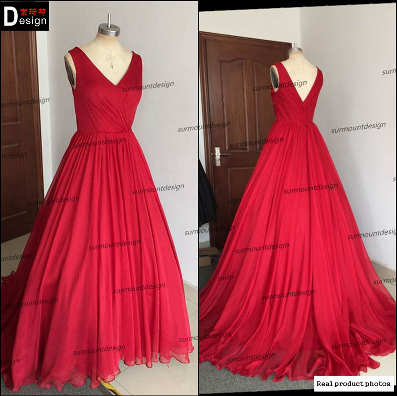 100% Real picture new arrival V neck red chiffon ball gown evening ...