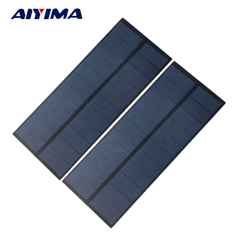 Aiyima 2pcs 5.5V 2.2W Solar Panels Polycrystalline Solar Panels SunPower 180x78.5mm DIY Solar Battery Charger Painel Solars