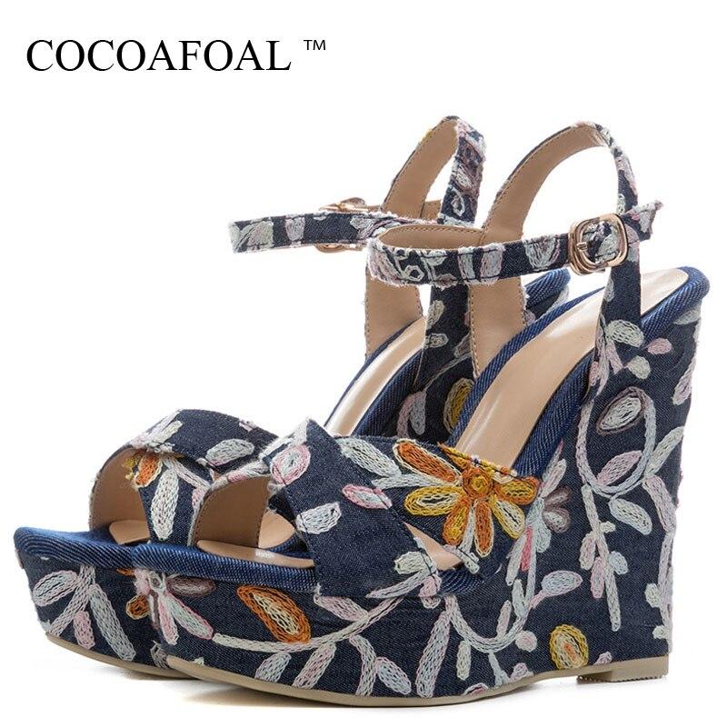 Tacones Bordar De Denim Cocoafoal Zapatos Las Verano Sandalias Cuñas Mujeres Mujer Altos Azul Plataforma PE1Eqx6