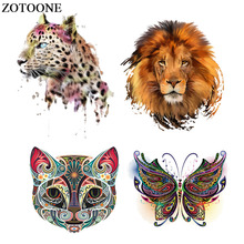 ZOTOONE Heat Transfer Printing Pvc Cool Lion Fox Patch for Clothes Iron On Patches For Clothing Animal 3d Stickers E