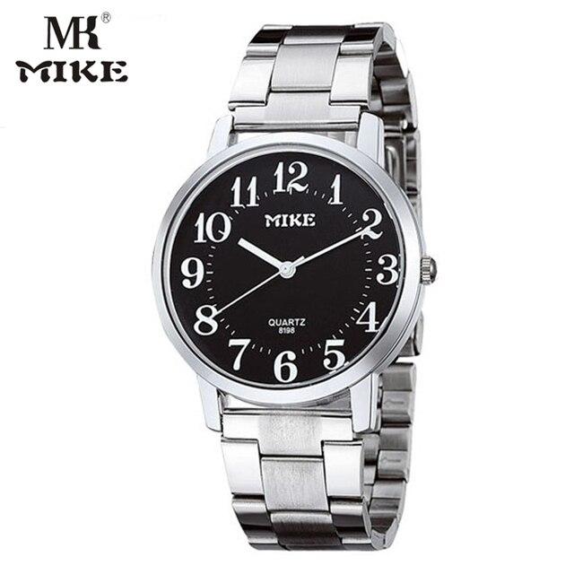 6218f18e5 Mk مايك بسيطة ووتش رجالي ساعات هدية لأمي كوارتز ساعة الفولاذ الصلب والمقاوم  اليابانية حركة reloj