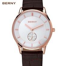 Берни 2017 Новое прибытие розовое золото стрелки часов мода кварцевые часы мужчины известная марка бизнес водонепроницаемый кожа наручные часы