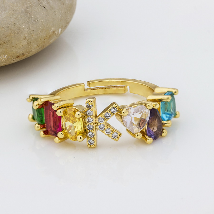 Hot Sale Adjustable A-Z Initial Ring Bohemian Copper Zircon  Rainbow Letter Rings for Women Girls Party Wedding Jewelry Gift 5