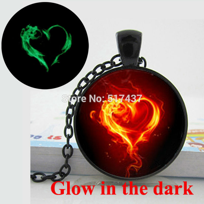 Glow in the dark heart necklace Burning heart pendant, flaming heart art photo glass cabochon glowing heart necklace