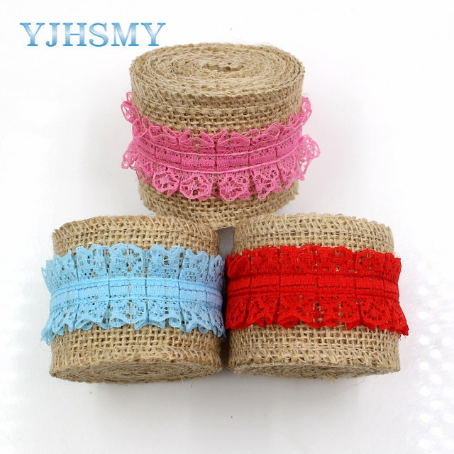 YJHSMY 181252 50 Mm 2Meters Linen Yarn Transparent Lace Ribbon Wedding Party Decoration Webbing DIY Crafts