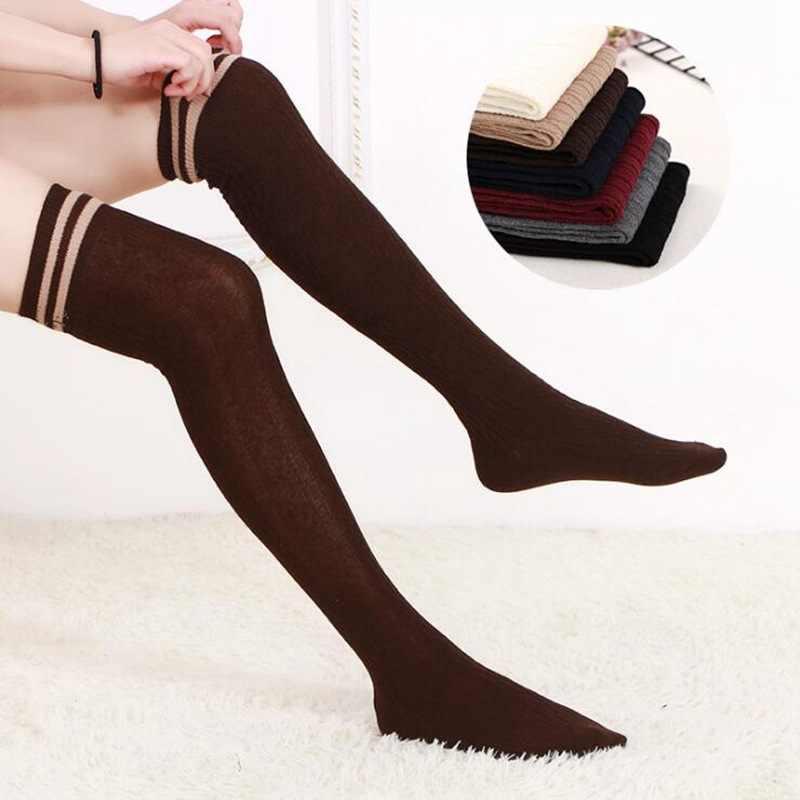 ผู้หญิงสูงกว่าถุงเท้าเข่าต้นขาถุงน่องสูงทึบ Warm ญี่ปุ่นนักเรียน Stripe ถุงเท้ายาวสำหรับสาวสุภาพสตรีผู้หญิง
