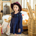 Girls Lace Dress Children New Korean Fashion Long-Sleeved Princess Autumn Kids Dress 2016 Children Pink/Dark Blue For Age 3-10