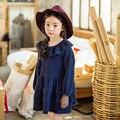 Meninas Rendas Crianças Vestido Nova Moda Coreano de Longo-Manga Princesa Outono Crianças Vestir 2016 Crianças Rosa/Azul Escuro para a Idade 3-10