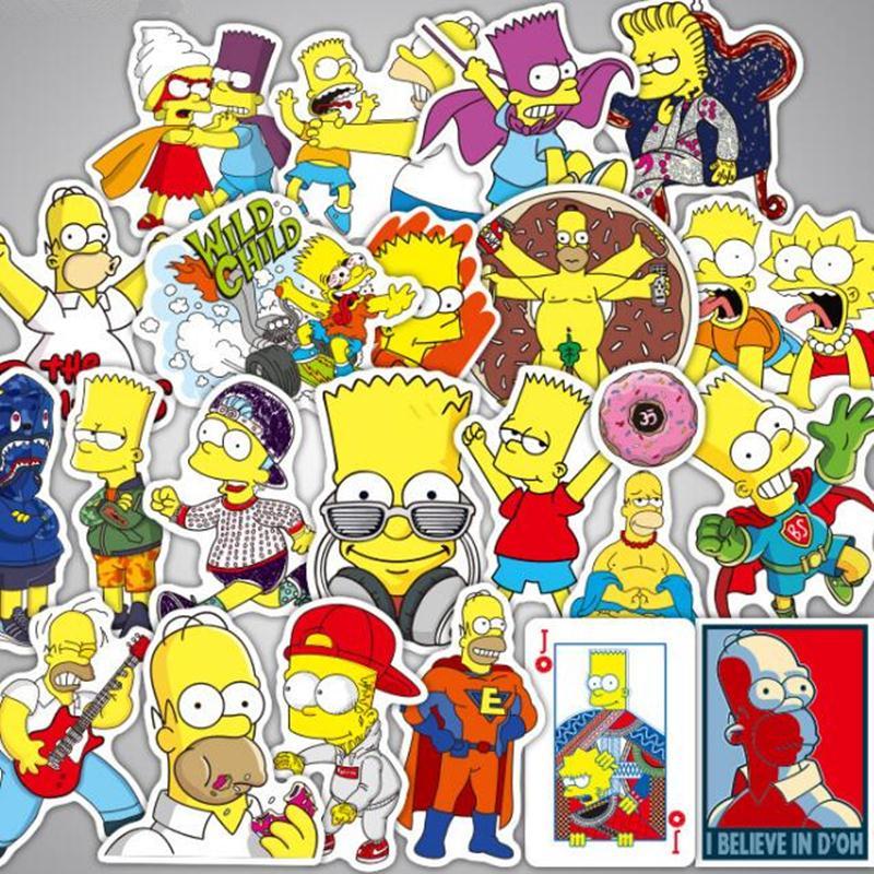 25PCS The Simpsons Vinyl Graffiti Creation Stickers Computer Skateboard Decals