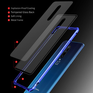 Image 4 - Luxury Hard Armor Metal Bumper Case For Oneplus 7 Pro Shockproof 9H Tempered Glass Case For One Plus 7 Pro Full Glass Cover