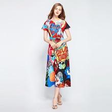 купить High quality designer letter print dress Fashion cartton print elegant dress women summer sequins dress S470 по цене 5215.6 рублей