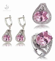 SHUNXUNZE Pink Cubic Zirconia Silver Plated set(ring/earring/pendant) R 546 European Jewelry Wedding Party Birthday Quality