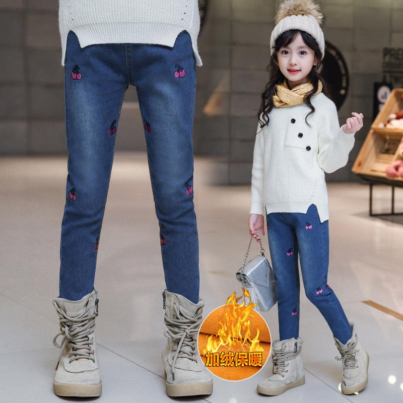 все цены на Thick Warm Winter Girls Jeans New Style Fashion Children Pants Elastic Waist Toddlers Teens Kids Jeans for Girls Spring Autumn