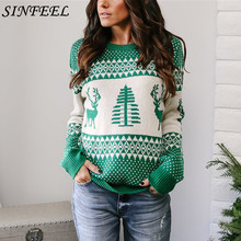 SINFEEL Women Christmas Sweaters Fashion Autumn Winter Warm Mohair Pullover Long Sleeve Casual Sweater Knitted Tops Plus Size