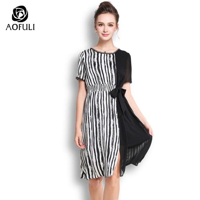 Aofuli Plus Size Summer Chiffon Dress Chic Bow Tie Slit Hem Dress