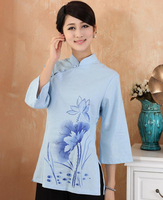 Light Blue Chinese Women Cotton Linen Shirt Vintage Slant Blouse Flower Tops Camisas Femininas Size S