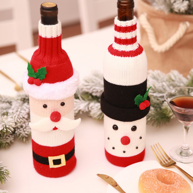 Christmas Santa Claus Knitting Red Wine Bottle Cover For Bar Xmas Snowman Bottle Bag Decoration Dinner Table Decor