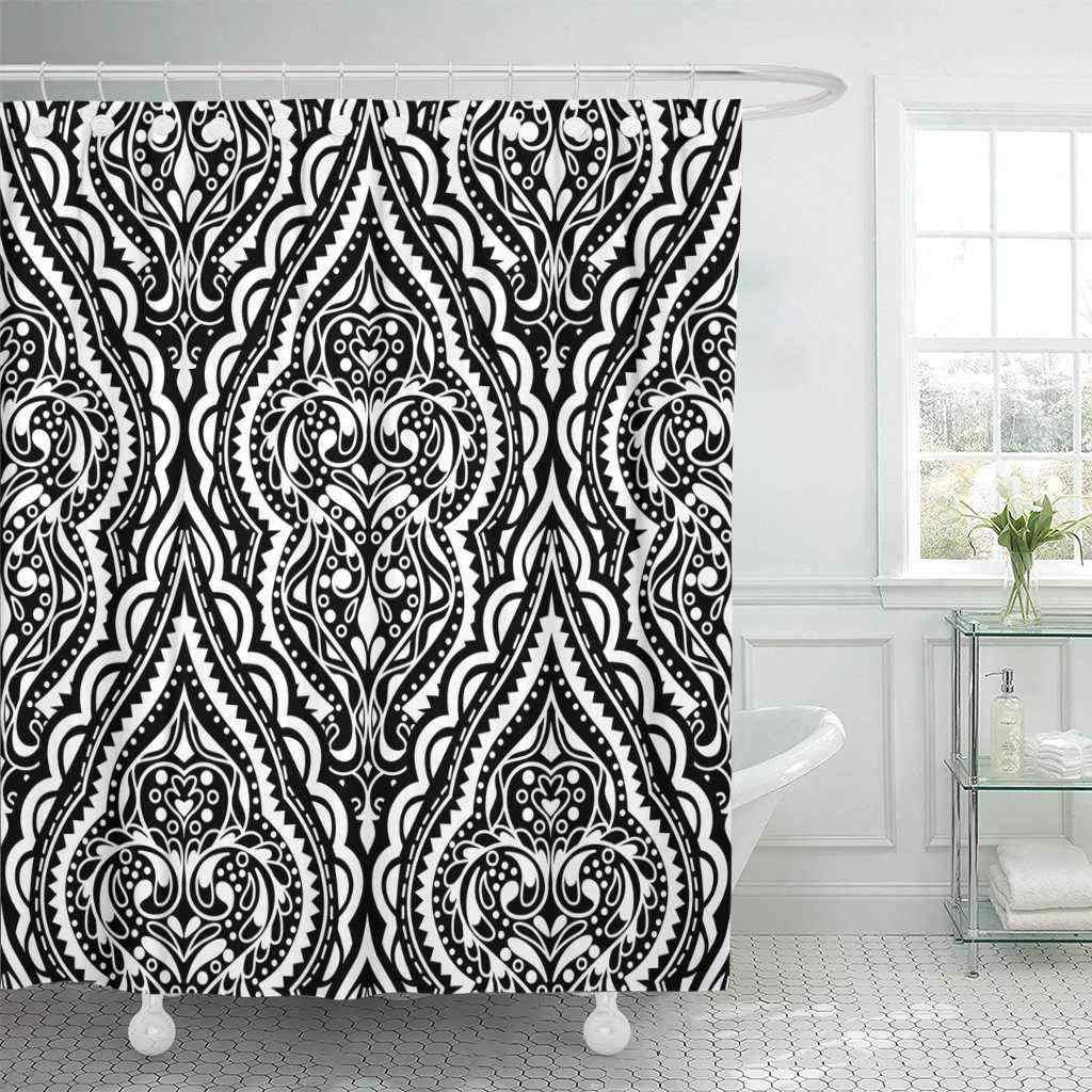 Shower Curtain with Hooks Medallion Beautiful Damask Vintage Abstract Mandala Style Black and White Design Ethnic Bathroom Decor