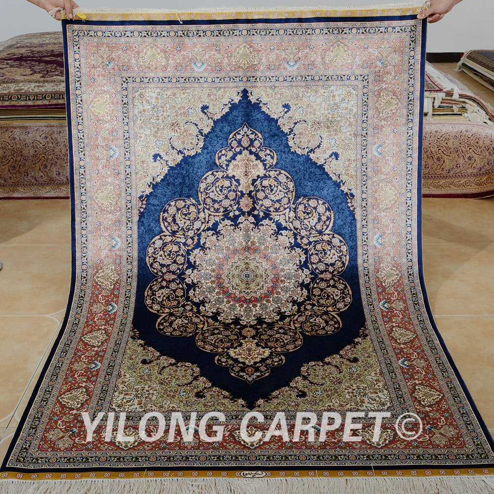Yilong 4 X6 Hand Knotted Silk Carpet Vantage Dark Blue Persian Rugs 0108 In Rug From Home Garden On Aliexpress Alibaba Group