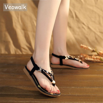 Veowalk Bohemian Summer Women Linen Cotton T-strap Flat Toe Sandals Metal Chains Ladies Comfort Beach Shoes Black sandials mujer online shopping in pakistan with free home delivery