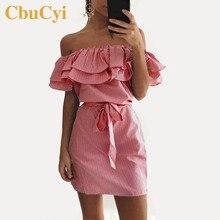 ФОТО cbucyi plus size summer women off-shoulder dresses short sleeve sheath straps mini dress female fashion ruffles stripe dresses