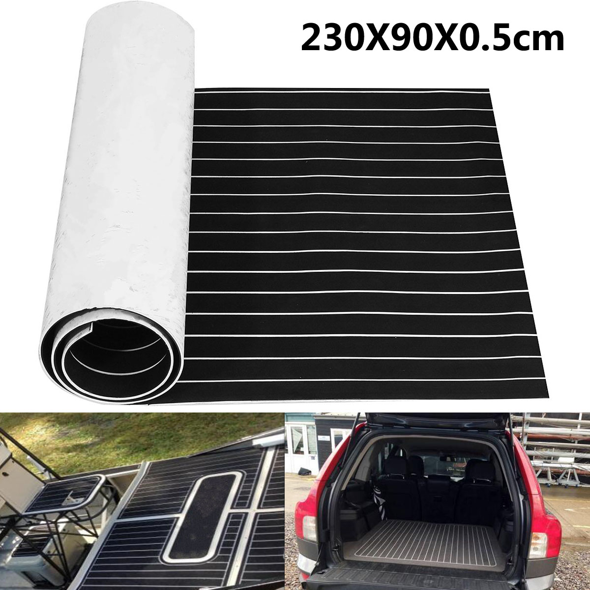 "Autoleader 230x90x0.5cm EVA Foam Teak Mat Self Adhesive Boat Yacht Black With White Lines Boat Flooring Teak Decking Sheet Pad teak house раковина ""round white"""