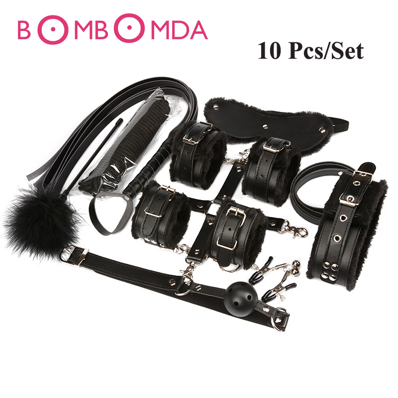 10Pcs Adult Games Slave Toys Set Handcuffs Footcuff Whip Paddle Mouth Gag Couples Erotic Toys Sex Bondage Kit Set Sexy Toys adult games 8 in 1 pink bondage kit set neck collar whip ball gag handcuffs rope eye mask fur sex fetish toy
