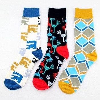 1 Pair Men winter Geometric style cotton happy socks men's socks Fashion trend personality sock spring autumn 10 pair set socks autumn winter japanese college style cotton socks manufacturer wholesale girl sock cute