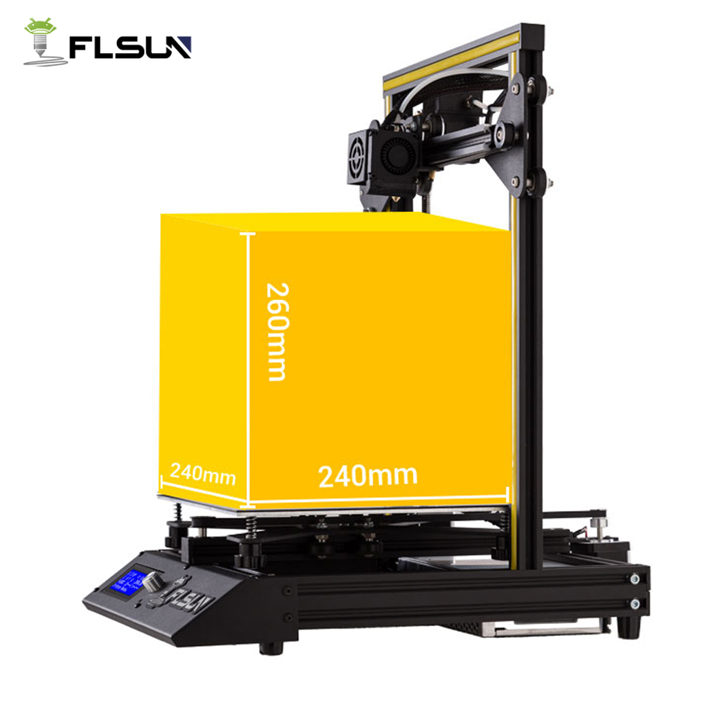 Flsun Metal Frame 3D Printer Large Printing Area 240*240*260mm Fast Assembly Open Source Support Heated Bed Free Pla Filament 2018 flsun 3d printer large size 240 240 260mm pre assembly prusa i3 3d printer metal parts heatbed support free pla filament