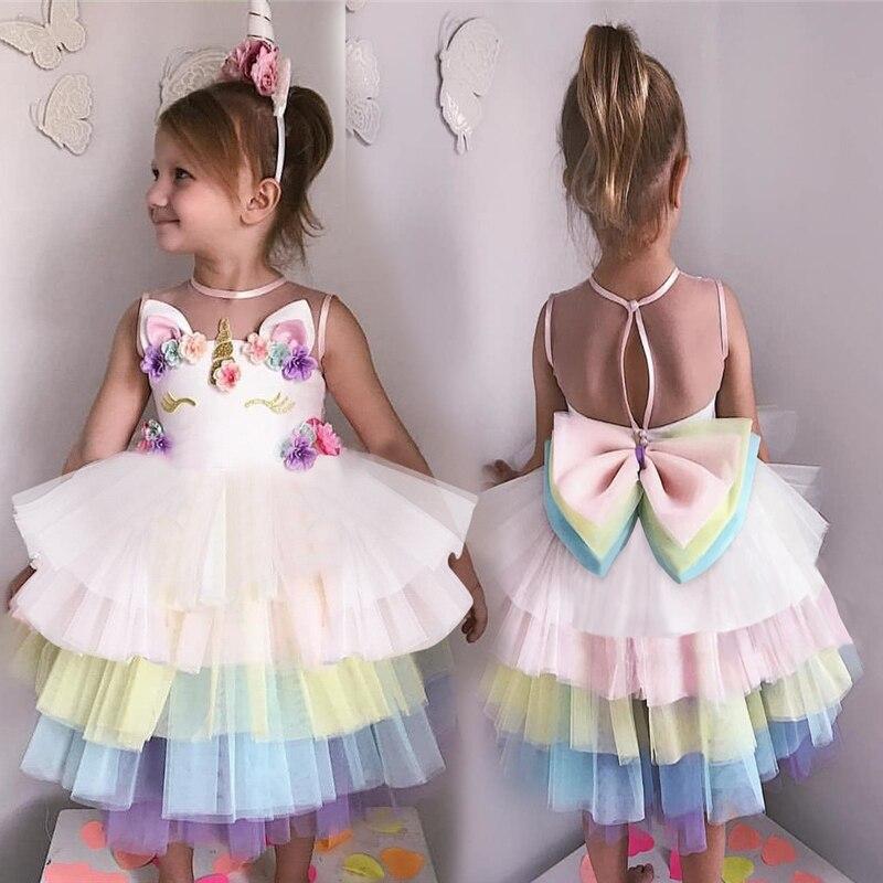 Unicorn Party Dress Kids Dresses For Girls Costume 2019 Summer Dress Children Elegant Girl Wear Princess Dress fantasia infantil