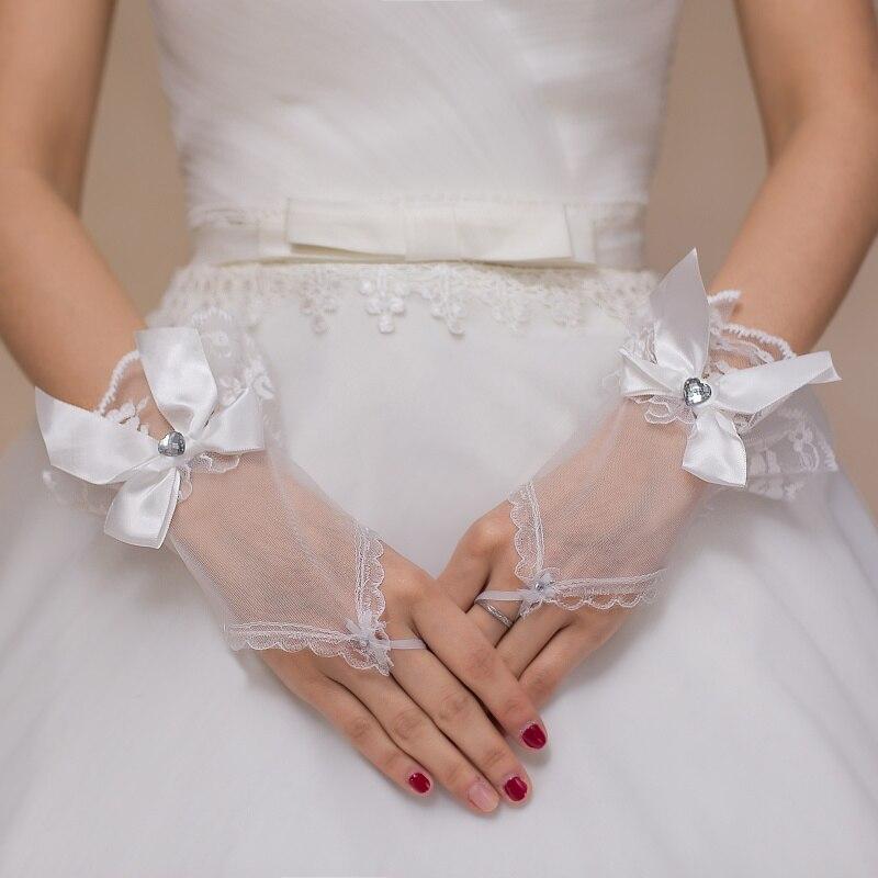 Дешевые Кот Пальцев Короткие Бисера Кристалл Свадебные Перчатки Свадебные Перчатки Невесты Аксессуары