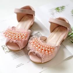 Девочки сандалии с открытым носком 2018 новые детские сандалии лето милые Бисероплетение Дизайн принцесса обувь для девочек