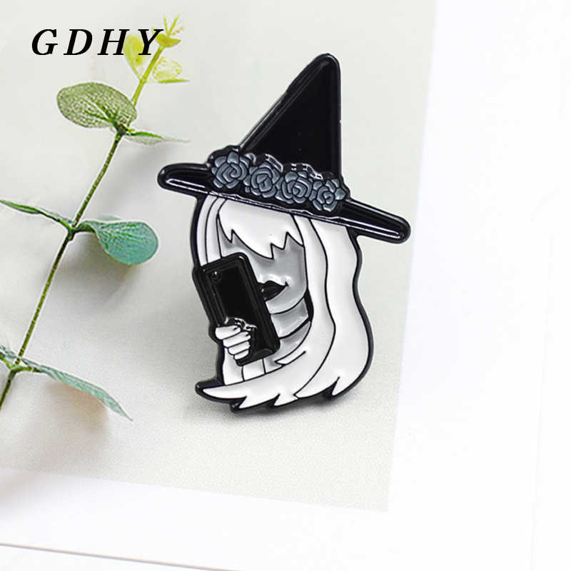 GDHY Fashion Black Hat Witch Brooch Flower Crown Black Wizard Hat Witch Mobile Enamel Pins Brooch Kids T-shirt Backpack Jewelry