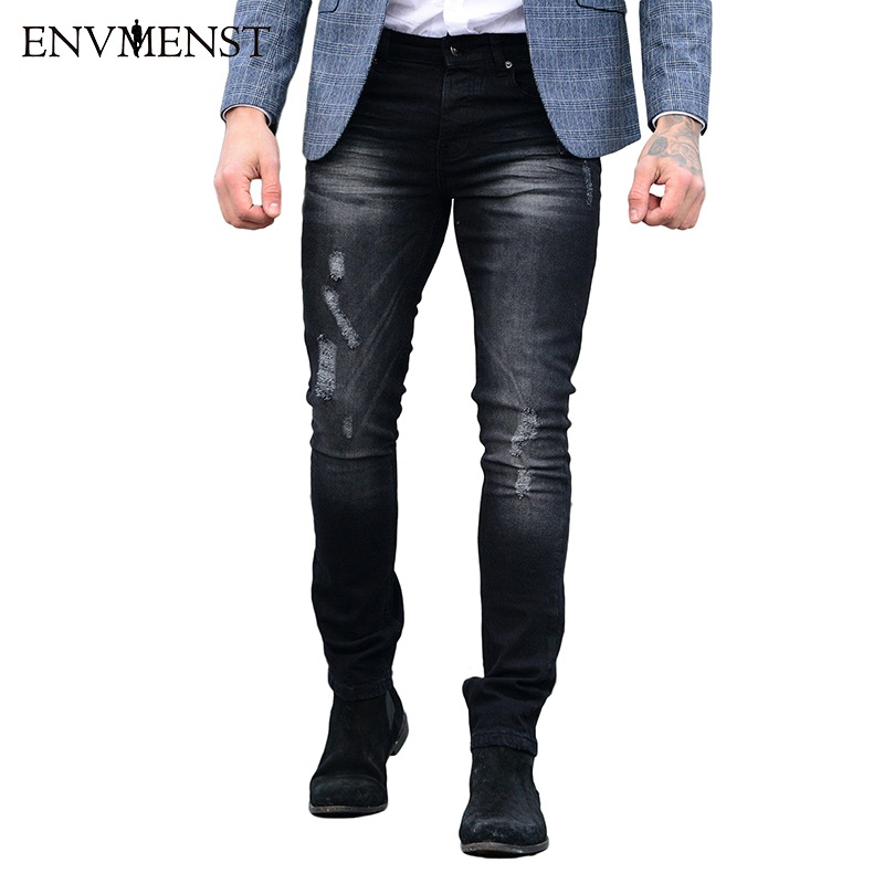 2018 NEW Men Distressed Jeans Ripped Slim Fit Pencil Pants Resilience Skinny Male Pockets Pleated Denim Trousers
