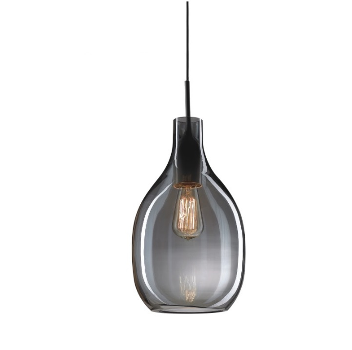 Suspension Lighting in Cognac Glass Bottle Shade