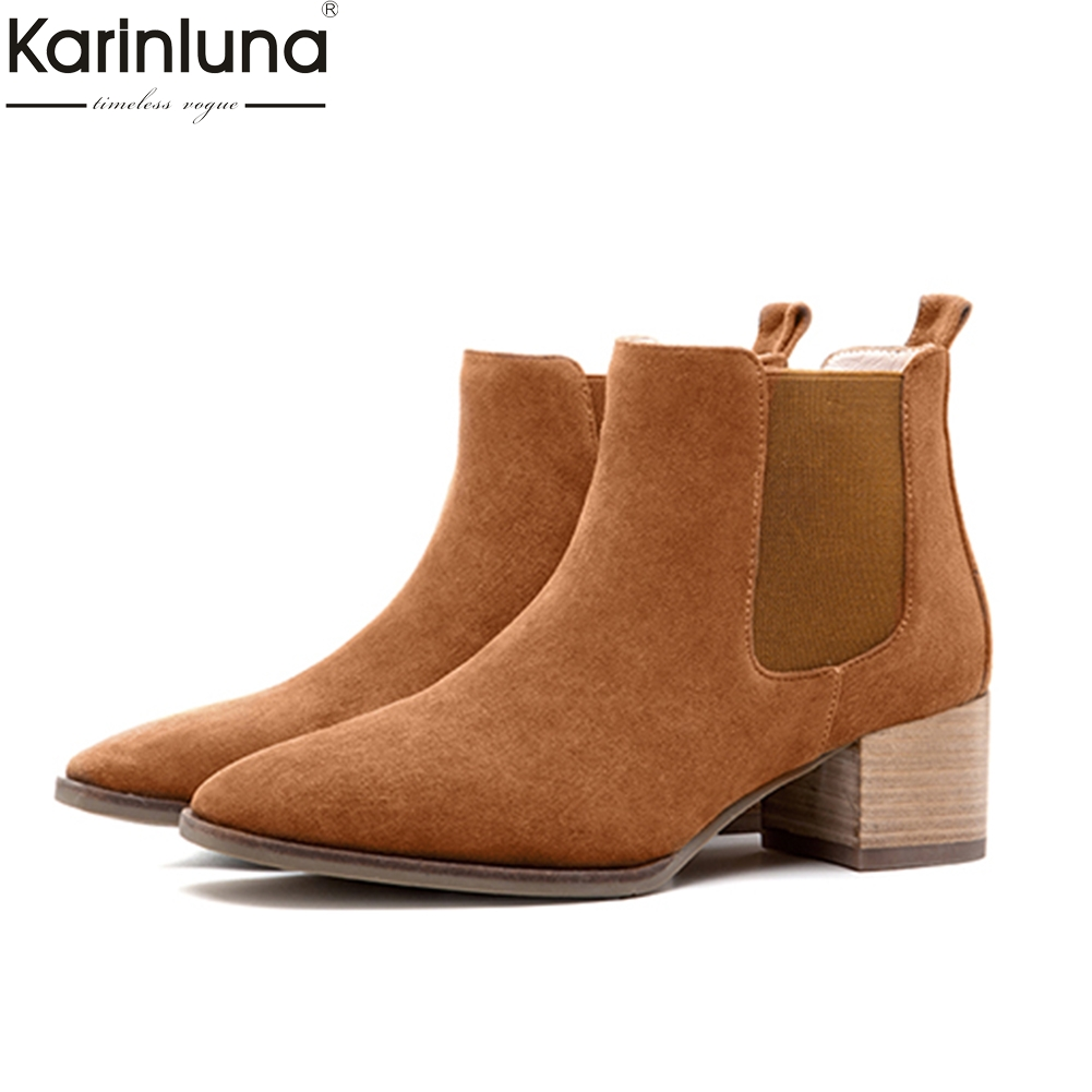 KarinLuna 2018 brand cow suede leather chelsea boots woman ankle boots fashion square heels casual women's shoes booties