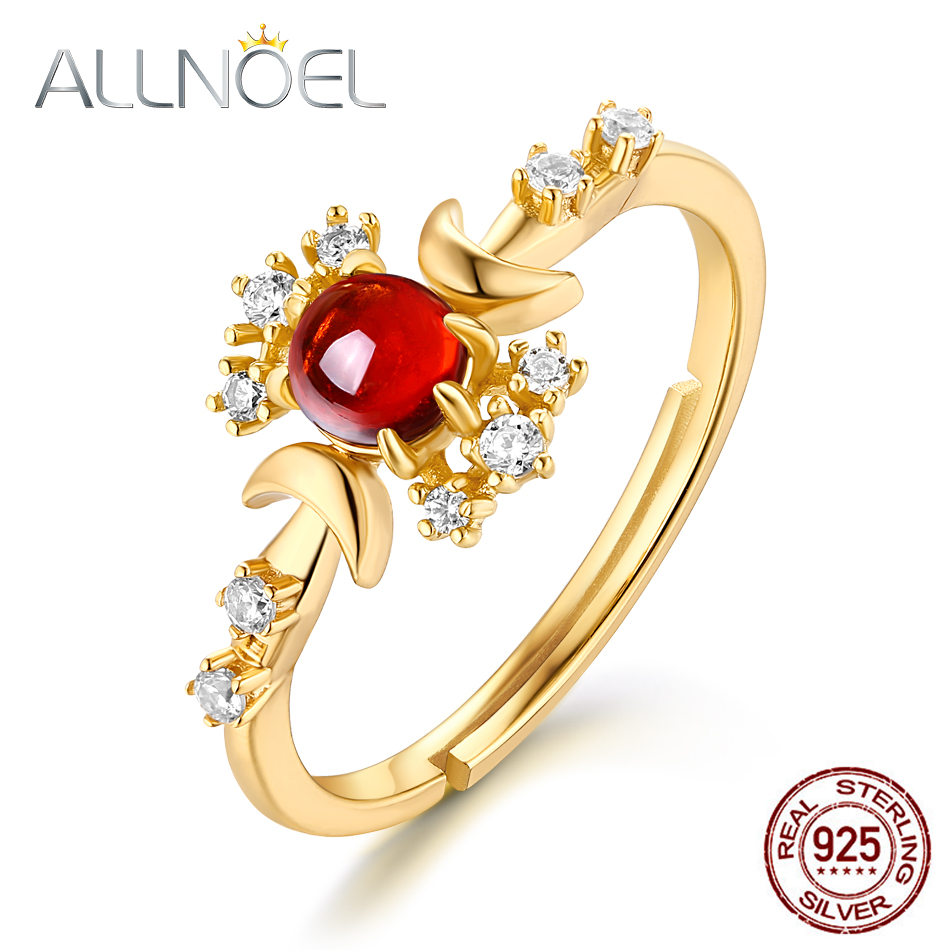 Allnoel S925 Ring For Girls 925 Silver Silver Mozambic Garnet Zircon Pure Gemstone Jewellery Engagement Rings Valentine's Day