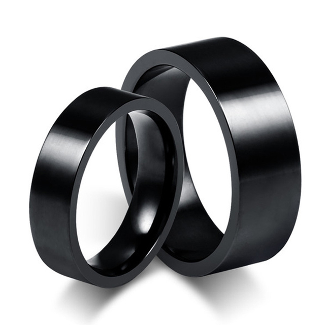 Classic Simple Black Titanium Steel Ring Woman Man's Wedding Rings Couple Ring anel de casamento anillos