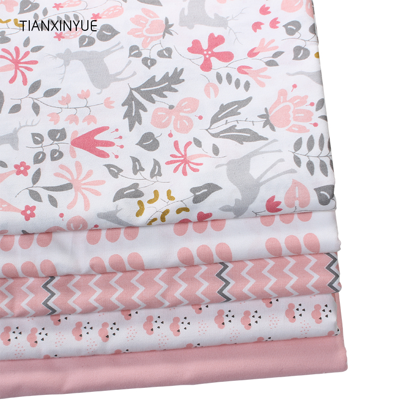 TIANXINYUE Christmas Sika Deer Cotton Fabric Patchwork Fabric Home Textile Quilting Tilda For Bedding Craft Needlework