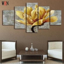 5 Piece Flower Wall Pictures Canvas Arts One Set For Living Room HD Print Large Modern Flower Wall Picture cuadros decoracion