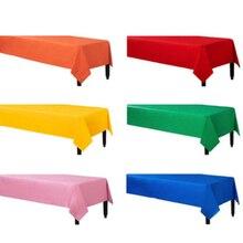 Nappe de Table en plastique jetable, 137x183cm, décoration de fête, couleur unie, rouge, rose, Orange/bleu/jaune/vert, tissu imperméable