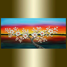 Hand painted modern home decor wall art picture white Cherry tree orange blue thick palette knife oil painting on canvas unframe