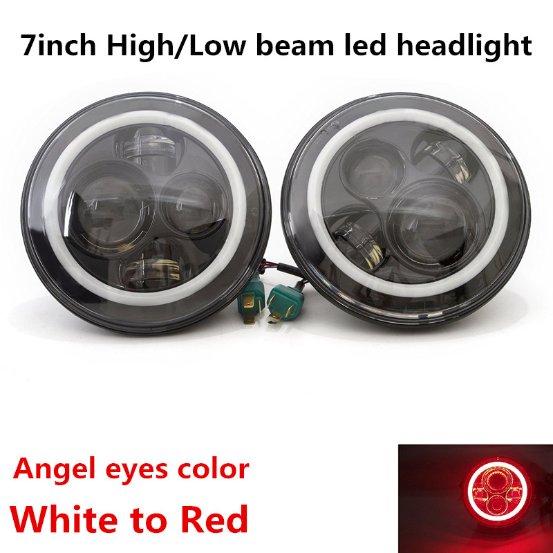 DOT Approve 7inch LED Auto Headlight 7'' LED Driving Headlamp Red Halo Ring for Jeep Wrangler Motorcycles OffRoad 4WD Lights 9012 hir2 led headlight bulbs 50w 8000lm fanless auto headlamp conversion kit for toyota chevrolet cadillac buick gmc ford jeep