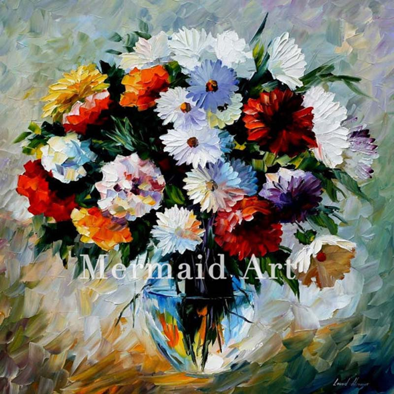Hand Painted North Radiance Floral Landscape Abstract Palette font b Knife b font Modern Oil Painting
