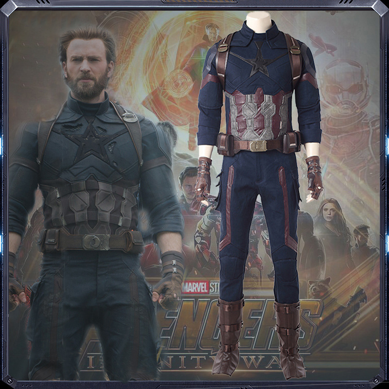 Captain America Cosplay Costume Costume Set Halloween Party New Year High Quality Uniform Full Suit Onesies For Adults M20180193