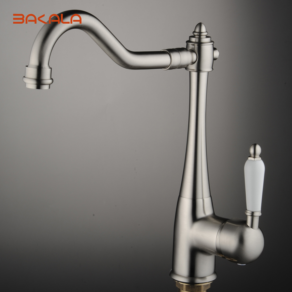 BAKALA Newly Patent Design 360 Swivel 100% Solid Brass Single Handle Mixer Sink Tap Kitchen Faucet In Brushed Nickel CODE 8054