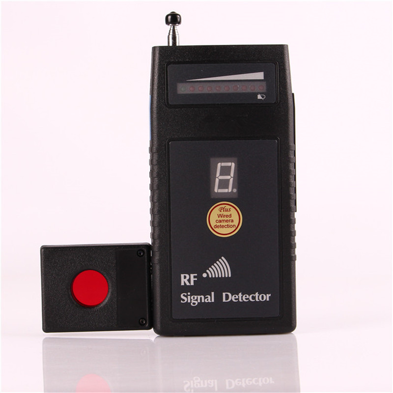 RF Signal Detector With Auto Threshold Bug Detector Wireless Camera Detector Anti Eavesdropping Device Full-range With Alarm 1 pcs full range multi function detectable rf lens detector wireless camera gps spy bug rf signal gsm device finder